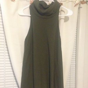 Olive Green Cowl Neck Sweater Tank